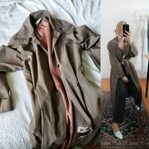 Brown taupe long trench coat oversized vintage
